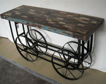 Console Table Reclaimed Wood  Vintage Industrial Wheels