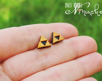 Triforce Zelda chips nails (fimo) geek earrings mini triforce