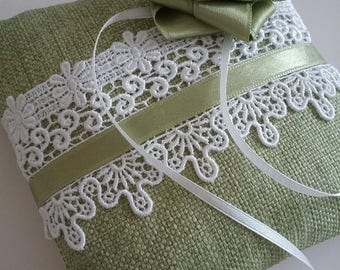 SALE Ring Bearer Pillow Green/ white lace/ roses romantic/ green color