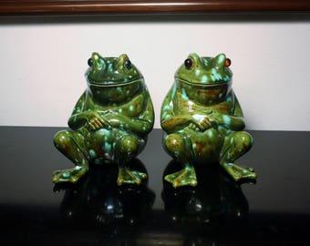 Sale! Vintage Frogs Drip Glaze Glass Eyes