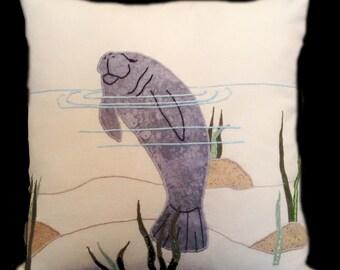 Throw Pillow Cover, Manatee Pillow Cover, 18 X 18, Handmade Pillow, Manatee, Green Sea Grass, Gift MDPC134