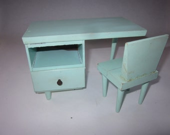Vintage Mid-Century Modern Doll's Desk and Chair for Barbie, Barbie Desk, Barbie Furniture