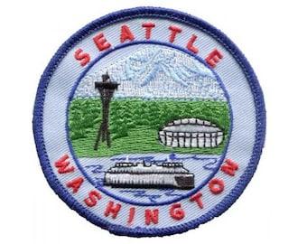 Seattle Patch - Mount Rainier, The Needle, Football Stadium (Iron on)