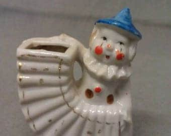 Vintage Clown with Accordian Colorful Tooth Pick Holder