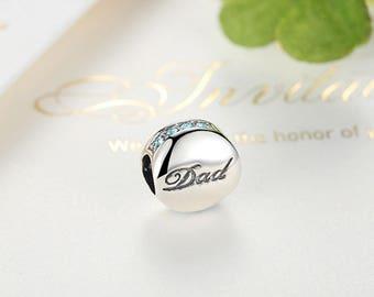 Sterling 925 silver charm love dad bead pendant fits Pandora charm and European charm bracelet