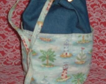 Vintage Lighthouse Fabric Curler Bag, Curler Holder, Fabric Curler Bag
