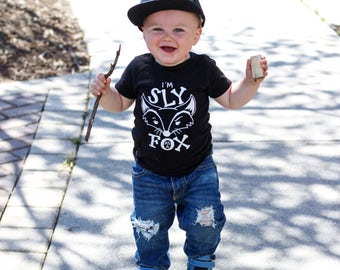 i'm sly as a fox    monochrome tees    trendy kids clothes   toddler tshirts   hip toddler boy   hip toddler girl    kids tshirt   cute tees
