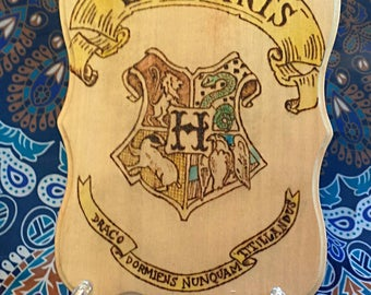 Wood burned Hogwarts Crest