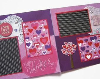 Valentine's Day Scrapbook Pages - Valentine's Day Layout - Valentine Pages - Valentine's Premade Scrapbook Pages - Love Scrapbook Layouts