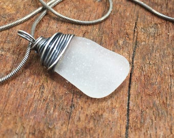 Silver Sea Glass Necklace, Sea Glass Necklace in Frosted White, Sterling Silver Sea Glass Necklace, Gift for Her, Unique Gift, Sea Glass
