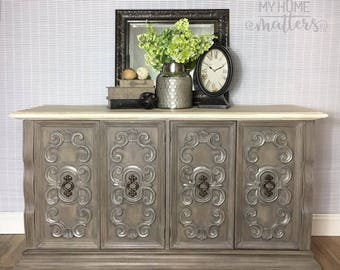 Server, Sideboard, Buffet done in Annie Sloan's French Linen, Old White and Coco