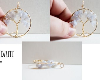 Blue Lace Agate Tree of Life Pendant