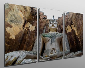 Metal Prints - Giant Buddha Statue, Thailand - 3 Panel split, Triptych - Metal wall art. HD aluminum prints for home decor & interior design