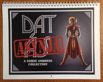 "Dat Asynja 12 Month Wall Calendar - 8.5""x11"" - Guide to the goddesses of Norse Mythology"