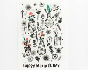 Mothers Day Greeting Card | Flower Vase Pattern
