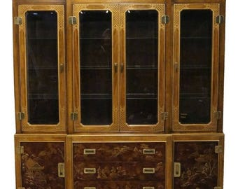 """DREXEL HERITAGE 79"""" Asian Chinese Chinoiserie China Cabinet 013-454"""