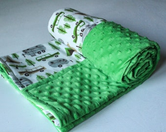 Ready to Ship! Green minky Camping Blanket