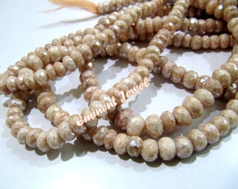 Beautiful Natural Peach Silverite Beads , Rondelle Faceted 7 to 8mm Size , Mystic Coated Silverite Chalcedony Beads , Length 8 inches long