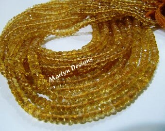 Best Quality Natural Citrine Beads , Rondelle Faceted Genuine Citrine Beads , 3-4mm Size Beads , Strand 13 inch long , Micro Faceted Beads