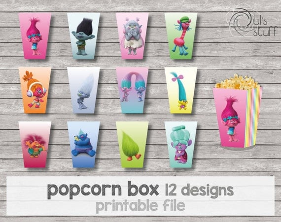 Pastel Trolls Downloadable Popcorn Boxes