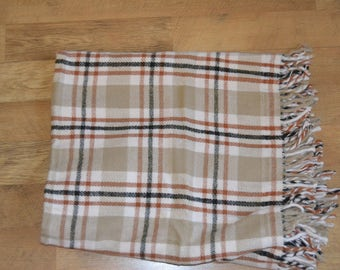 plaid blanket, with red, white, black, tan lines, Beige, use for picnics, fall, warm, spring, outdoors,