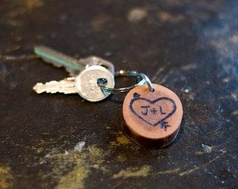 Custom Cherry Wood Burned Keychain