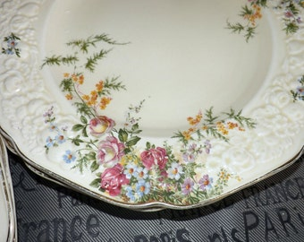 Early mid-century (c1940s) Crown Ducal Rosalie cream ware dinner plates. Florentine shape.Embossed florals, gold scalloped edge.