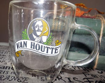 Vintage (c. mid 1990s) Van Houtte plastic coffee mug | cup.  Color Van Houtte image and logo, insulated plastic.
