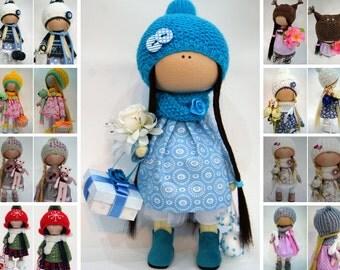 Handmade doll Art doll Blue doll Tilda doll Interior doll Textile doll Cloth doll Nursery doll Fabric doll Decor doll Rag doll by Ksenia Pe