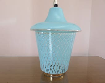 Wall lamp in turquoise blue glass pale mid century 1950-1960-50's 60's mid century french vintage glass candlestick for lamp