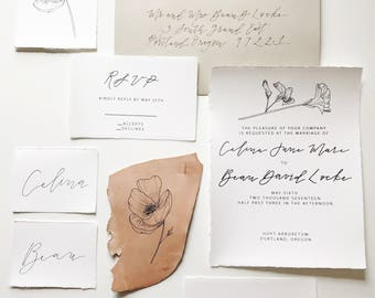 Fine Art Floral, Flower Sketch Minimal Calligraphy Wedding Invitation Suite (Leather Detail)