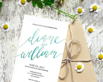 Printable Wedding Invitation | Watercolor Calligraphy | Wedding Invitation Suite Template | RSVP | Reception Card
