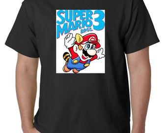 Super Mario 3 t-shirt shirt logo nintendo adult