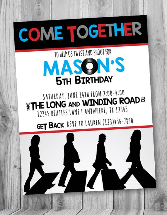 ON SALE The Beatles Birthday Invite Beatles Party Beatles – Beatles Party Invitations