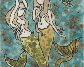 Mermaid 31 Sisters Hand Painted Kiln Fired Decorative Ceramic Wall Art Tile 8 x 6