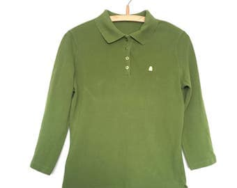 United Colours of Benetton Green Polo shirt, 3/4 sleeve - UK Small