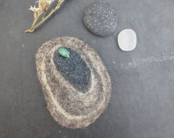 Felted brooch mussel shell in natural gray with Roman bead accent Mother's Day small gift