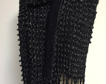 Black Scarf, Black Fringed Scarf, Holiday Scarf, Black and Silver Scarf, Color Options