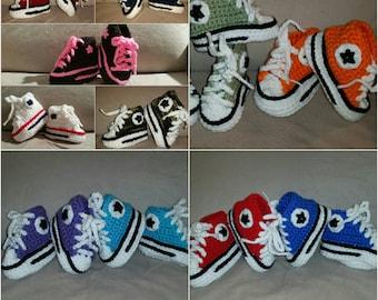 Crochet Baby Converse Tennis Shoe, Crochet Chuck Taylors, Crochet Baby Shoes