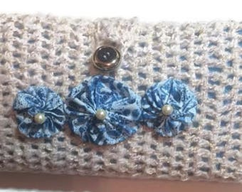 Blue and Beige Batik-like Hooks and Notions Clutch