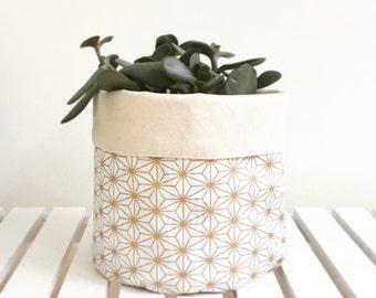 Gold geometric storage basket or plant pouch. Fabric basket, storage, fabric bin.