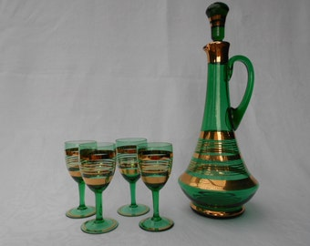 Vintage Emerald Green Decanter Set with Four Stem Glasses 1960's  #00109