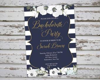 Bachelorette Invitation, Floral Bachelorette Party Invitation, Navy Bachelorette Invite, Hen Party Invitation, Hens Do Invitation DIY