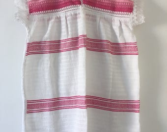 Tradicional Mexican Pink with White Blouse of Loom