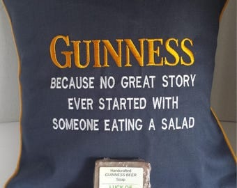 Guinness pillow and  2 oz bar of soap.