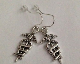 Nurse Earrings,Caduceus Jewelry,Caduceus Earrings, Medical Earrings, Doctors Earrings , Nurses Jewelry,Healthcare Jewelry,Ships From USA