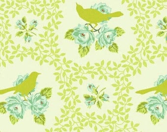 Up Parasol Mockingbird in chartreuse by Heather Bailey for Free Spirit  -  cotton quilting fabric by the yard