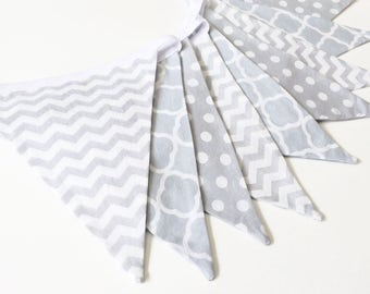 Grey baby banner, gender neutral banner, grey baby shower decor, grey nursery bunting, grey baby bunting, grey bunting flags, Nessa Foye