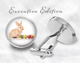 Easter Bunny Cufflinks - Easter Cufflink - Easter Egg Cuff Links - Easter Gift For Him (Pair) Lifetime Guarantee (S0150)