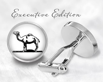 Camel Cufflinks - Desert Camel Cuff Links - Camel Wedding Cuff Links (Pair) Lifetime Guarantee (S0469)